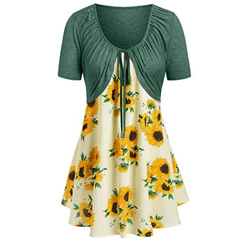 (MURTIAL Women's Short Sleeve Bow Knot Bandage Top Sunflower Print Mini Dress Suits(Green(T-Shirt) 1,M))