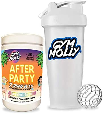 Gym Molly After Party BCAA Powder with Blender Bottle – Workout Drink Supplement for Fitness Recovery Caffeine Free Zero Carbs, Sugar, or Calories Loopy Fruitz Cereal