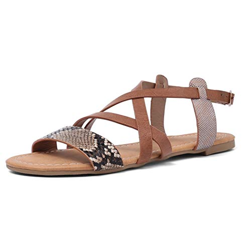 Vintage Snake Skin Flat Sandals Women's Cross Strap Footwears Fashion Rome Style Gladiator Ankle Buckle Shoes