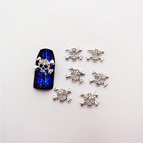 Kamas 10pcs 3D Mixed Style Nail Art Halloween Rhinestones Decoration Metal Skull Charms Jewelry DIY Beauty Nail Accessories Supplies - (Color: silverAB) ()
