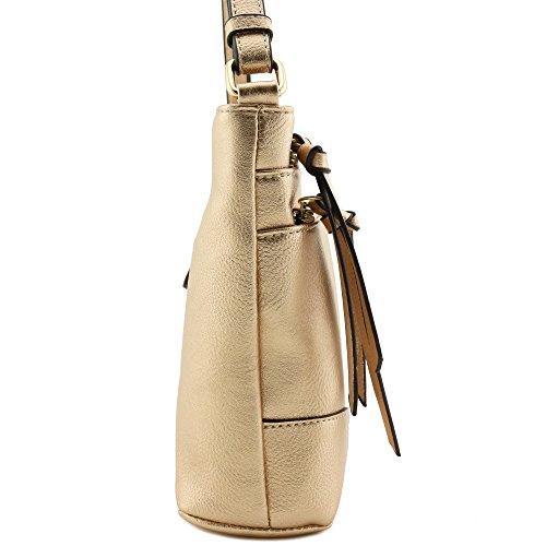 Medium Triple Champagne Crossbody Zipper Bag Pocket AAnqw8Erz