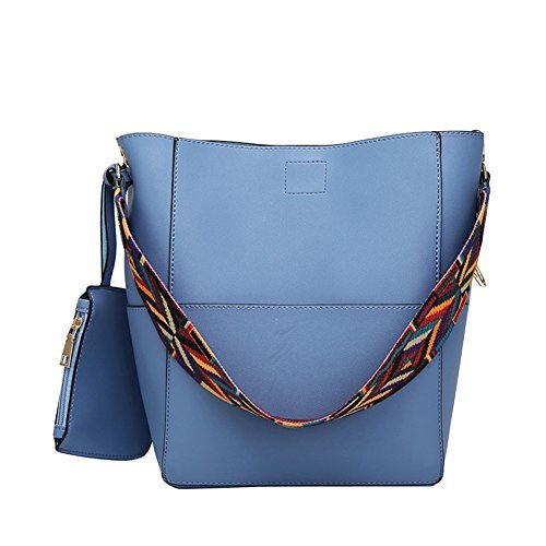 Rbsports Designer Bucket bag Women Leather Wide Strap Shoulder bag Handbag Blue ()