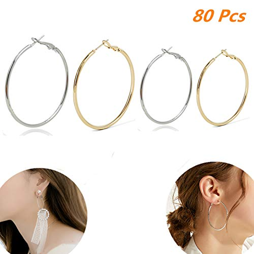 Wholesale Beading Supplies (Xinhongo 80 Pcs Circle Round Metal Beading Hoop Earrings Jewelry Making Supplies Earring Finding,Jewelry Finding for Earring DIY Craft, Silver and Gold,30mm and)