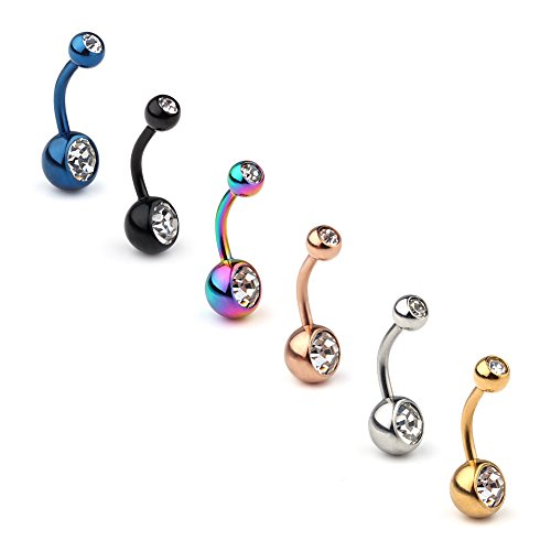 Ruifan 6PCS 14G Clear Birthstone Crystal Ball Belly Button Rings Navel Barbell Body Jewelry Piercing (Crystal Stone Belly Button Rings)