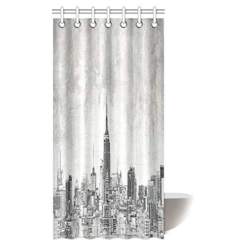 American Shower Curtain Set Cosmopolitan New York City Skyline with Iconic Skyscrapers and High Buildings Print Bath Curtain Waterproof Fabric Bathroom Decor with Hooks, 36 X 72 inch