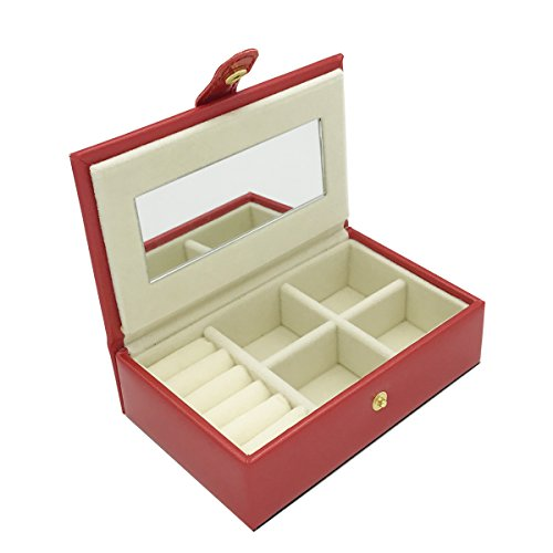 Small Faux Leather Travel Jewelry Box Organizer Display