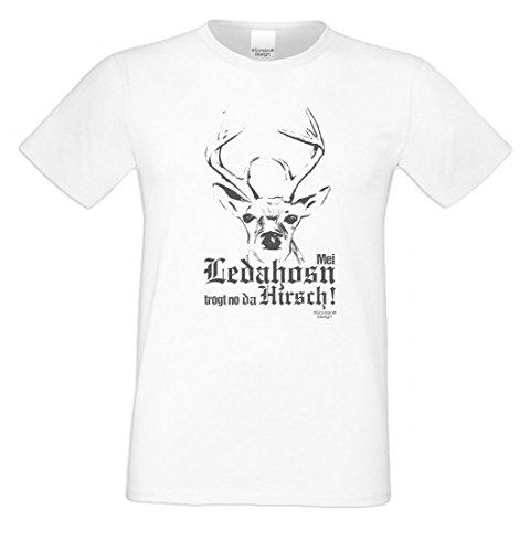 Wiesn T-Shirt statt Tracht & Dirndl - Mei Ledahosn trogt no da Hirsch - Spruchshirt Geschenk Oktoberfest Volksfest gr1