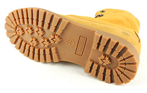 Mujer Amarillo Piel Botas De Para Lumberjack qxw1Cg0T