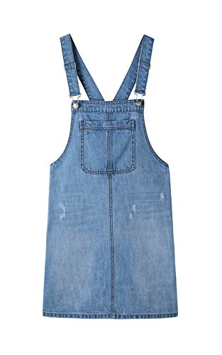 Blue Denim Jumper - Women's Casual Adjustable Straps A-line Bib Pocket Denim Pinafore Overall Dress (S, Denim Blue)