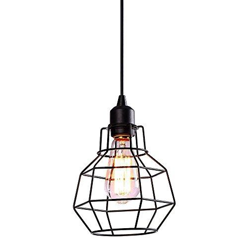 Pendant Lighting Fixtures Industrial Edison Vintage Style Polygon Wire Pendant Light Art Deco for Kitchen Living Dinning Room Restaurant Bar Black Finish Metal Cage (Polygon Island Light)