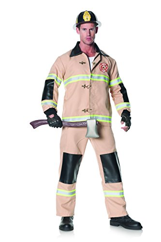 Underwraps Men's Plus-Size Firefighter, Tan, XX-Large