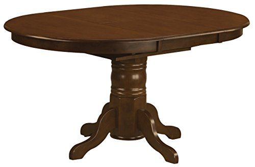 East West Furniture KET-ESP-TP Kenley Oval Single Pedestal Dining Table with 18