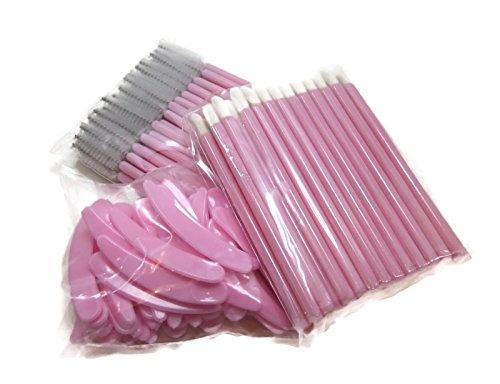 Pink Makeup Applicator Set with 50 Lip Gloss Wands, 50 Mascara Wands, and 50 Spatulas