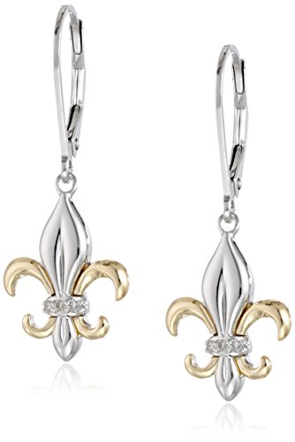Sterling Silver and 14k Yellow Gold Fleur-de-Lis Diamond Accent Drop (Diamond Accent Drop)