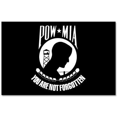 Pow Mia Bumper Sticker - POW MIA War Flag sign symbol car bumper sticker 6