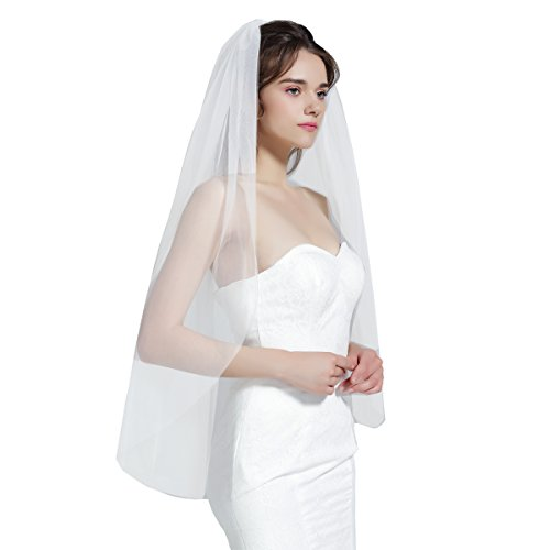 Wedding Bridal Veil with Comb 1 Tier Cut Edge Fingertip Length White