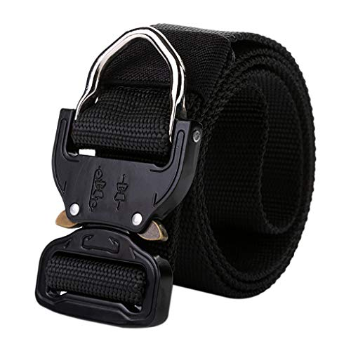 Kitt Men's Outdoor Training Belt Tactical Military Canvas Belt Non-Perforated Webbing for Men Metal Buckle Belt, Suitable for Outdoor Sports, Hanging Keys, Gadgets (Black, 125X3.8CM)