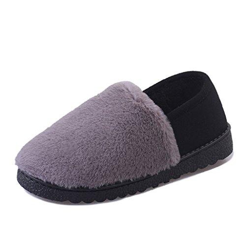 Pantoufles Unie Anti Épaissie D'Extérieur Femme de Coton Pattern et Chaussures Chaud Chaussons 3 Couleur D'Hiver Dérapant D'Intérieur DWW vUwR0qE