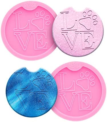 2 Packs DIY Love with Dog Paw Car Coasters Silicone Molds Epoxy Resin Molds for Cup Mat Car Cup Holder Coasters Moulds Diameter 6.5cm/2.5inch, Molds for Casting, Home Decoration