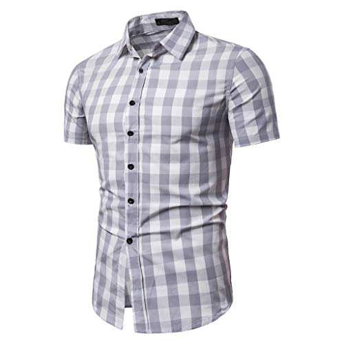 LUCAMORE Mens Plaid Casual Shirts - Button Down Short Blouse Summer Standing Collar Tops White