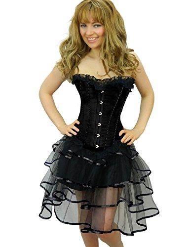 Yummy Bee Womens Burlesque Corset + Tutu Skirt Costume Size 14 - 16 Black Long Rib (Can Can Saloon Girl Costume)