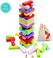 Wooden Stacking Board Games 54 Pieces for Kids Adult and Families, Gentle Monster Wooden Blocks Toys for Toddl