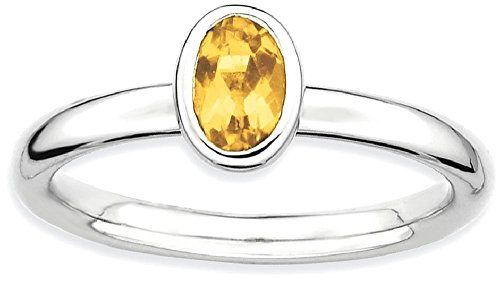 Oval Gemstone Stackable Ring - ICE CARATS 925 Sterling Silver Oval Yellow Citrine Band Ring Size 5.00 Stone Stackable Gemstone Birthstone November Fine Jewelry Gift Valentine Day Set For Women Heart