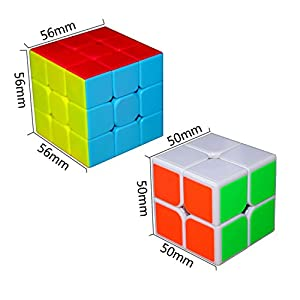 Eyewalk Speed Cube Bundle Set Magic Cube Puzzle 3x3 2x2 (2 Pack) New Anti-Pop Structure, With 2 x Cube Stand