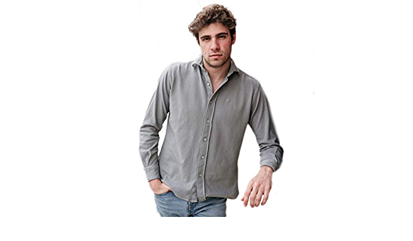 HOOK - Camisa Piqué Gris - Manga Larga - Cuello Italiano ...