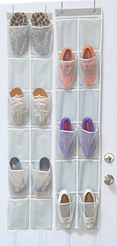 24 Pockets - 2PK 12 Large Pockets Over Door Hanging Shoe Organizer, Grey (58'' x 12.5'')