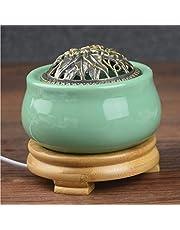 QAA Aromadiffuser, ronde elektrische keramische wierookbrander, insteekbare en tijdgestuurde temperatuurregeling voor binnen