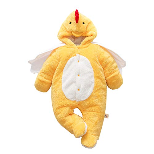 Baby Chick Costumes (Mornyray Toddler Baby Unisex Thick Fleece Romper Outwear Animal Costume Snowsuit Size 73(6-12M) (Yellow)
