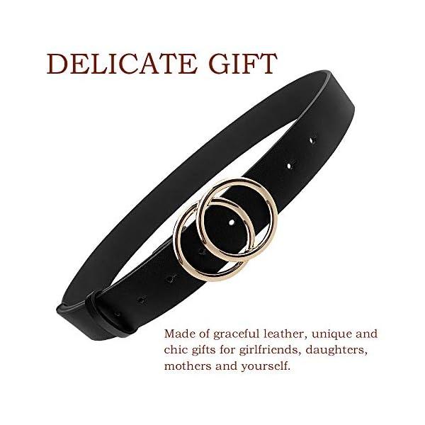 Udekit Women's PU Leather Belt Double O Ring Soft Faux Leather Waist Belt