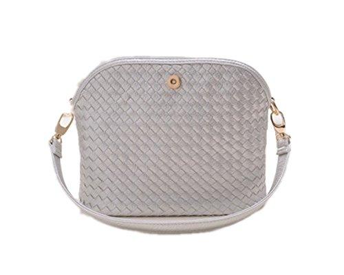 Fujia 2016 Woven Shoulder Bag Women Magnetic Clasp Handbag Gray