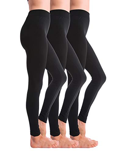 Homma 3 Pack Fleece Lined Winter Thick Brushed Leggings Thights (BLACKx3, S/M/L)