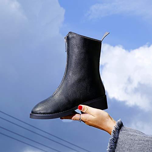 HOESCZS Stiefel Martin Herbst Und Winter Reißverschluss Runde Kopf Stiefel Studenten Wilde Casual Tube Mode Dick Mit Stiefeln Martin Stiefel Frauen