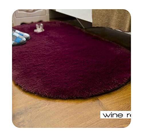 (16 Colors Ellipse Floor Carpet Long Hair Shaggy Soft Carpets Bedroom Living Room Anti Slip Kids Mat Plush Area Rug,Wine Red,100cm x)