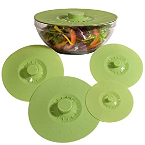 Green Silicone Bowl Lids, Set of 5 Reusable Suction Seal Covers for Bowls, Pots, Cups. Food Safe. Natural grip, interlocking handles for easy use and storage.
