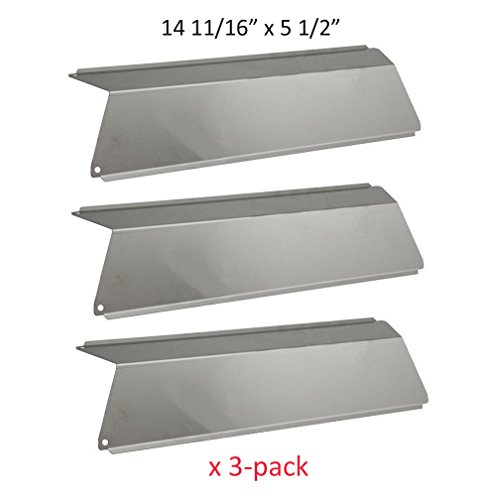 BBQ funland SH5691 (3-pack) Stainless Steel Heat Plates, Heat Shield Replacement for Select Fiesta Gas Grill Models - Fiesta Grill Parts