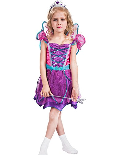 FantastCostumes Child's Spring Fariy Costumes With Wings(Purple, Small) ()