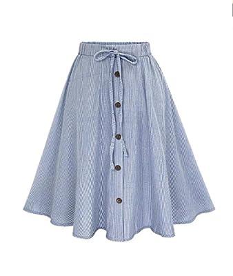 Lookatool Skirts, Women Stripe Single-Breasted Lace High Waist Skater Skirt