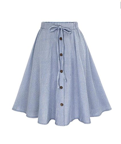 Lookatool Skirts, Women Stripe Single-Breasted Lace High Waist Skater (Button Down Cotton Skirt)