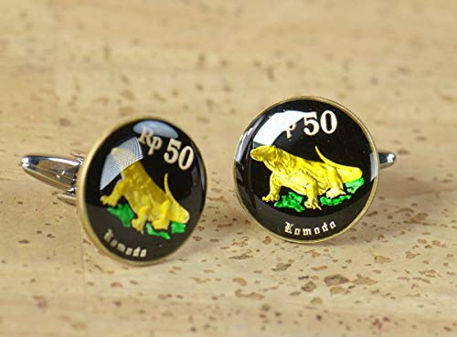 Cufflinks hand painted enamel coin. Cuff linksCufflinks Indonesia Coin.Indonesian Komodo dragon - Indonesia Coin