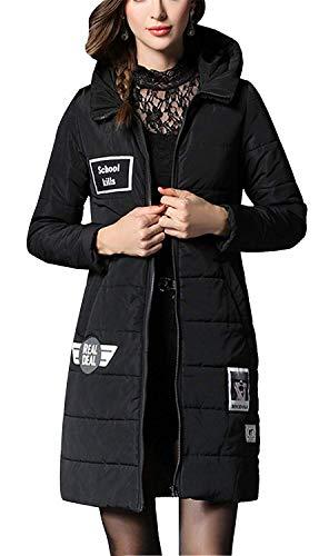 Cerniera Slim A Jacket Schwarz Down Oversize Donna Casual Winter Lunghe Warm Vestiti Elegante Cappotto Cappuccio Relaxed Con Lunghi Maniche Parka Trapuntato Saoye Fashion Da 8BqTw014x
