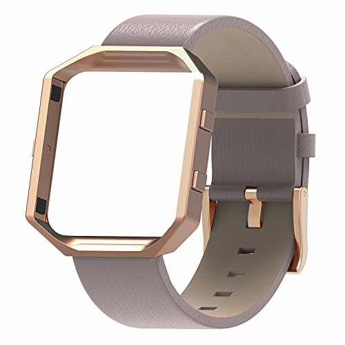 Henoda Compatible with Fitbit Blaze Bands Leather Small Large Strap Smart Fitness Watch Band Women Men (A Oxford Tan and Rose Gold Frame, L/G Size)