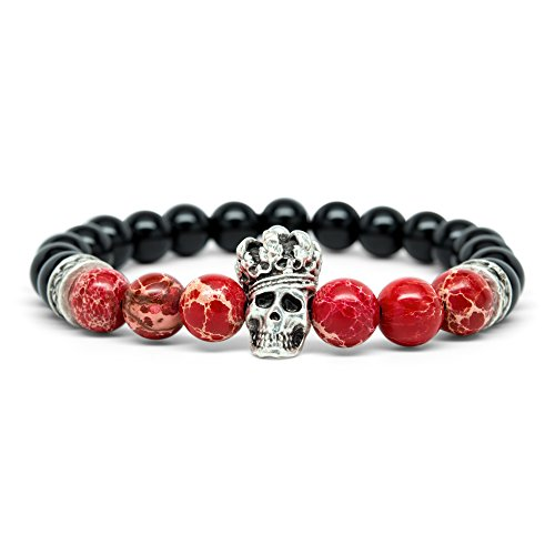 Buddha Guides (Orti Jewelry Wrist Beads Semiprecious Stone Bracelet - Real 8mm Onyx and Red Variscite Gemstones - for Chakra Healing and Balancing, fits Men and Women 7 inch - Adds Boho Charm to Any Outfit, by)