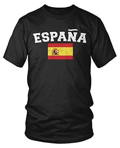 Flag T-shirt Spain - Amdesco Men's Espana Flag, Flag of Spain, Spanish Flag T-Shirt, Black XL