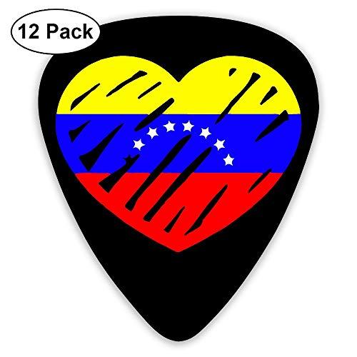 Flag Venezuela Heart Love - Love Venezuela Flag Heart 351 Shape Classic Picks 12 Pack For Electric Guitar Acoustic Mandolin Bass