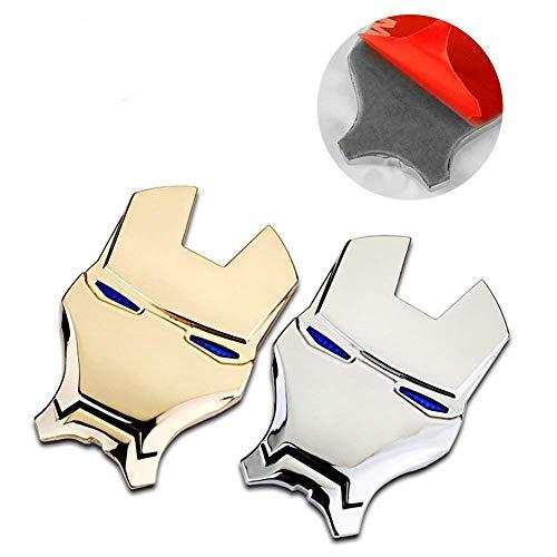 - 3D Metal Sticker, Sarissa Iron Man Logo Car Sticker Car Emblems Chrome Auto Emblem Decal Gold and Silver 2 PCS