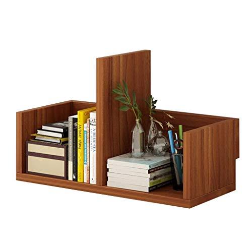 MOOLO Storage Racks Desktop Bookshelf Storage Shelf Countertop Bookcase Supplies Multi-use Shelving Desk Organizer Display Rack (Color : Brown, Design : A)